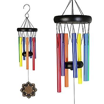 Deerbird® Madera Colorido Campanas de viento y 7 especies Diferentes colores Tubo de metal Haya
