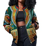 Freshzone Mandarin Collar Women Long Sleeve Fashion African Print Dashiki Short Casual Jacket,Multicolor, Autumn/Winter (XL, Green)