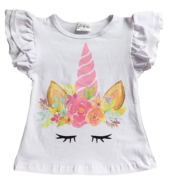 2f27c246 Toddler Girls Ruffle Short Sleeve Floral Unicorn Cotton Raglan Top T-Shirt  Tee White 2T