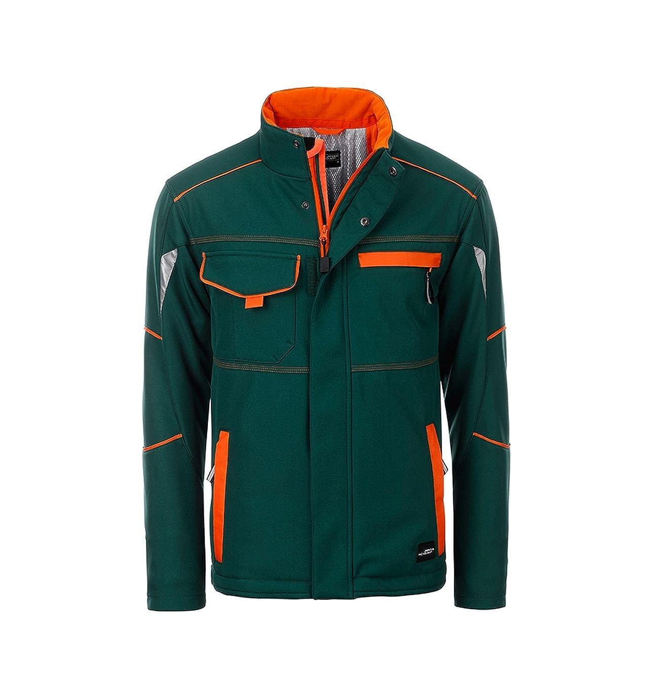 Dark-vert Orange L Veste Softshell Fonctionnelle avec Doubleure Chaude