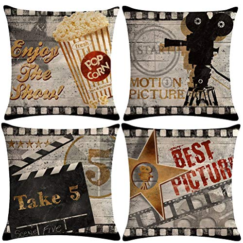 7ColorRoomVintage Cinema Pillow Covers Movie Theater Poster with Popcorn,Projector,Clapboard,Star Pattern Home Decor Couch Pillow Case 18 X 18 Inch Set of 4 (Movie 4P)