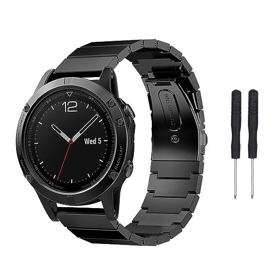 Garmin Fenix 5 GPS Metal Strap Nueva Correa de Reloj de Acero ...