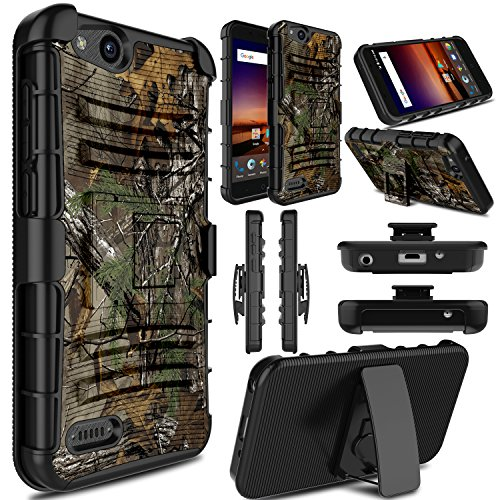 Elegant Choise Compatible with ZTE Tempo X Case, ZTE Blade Vantage Case, ZTE Avid 4 Case, Holster Heavy Duty Shockproof Armor Rugged Protective Case with Swivel Belt Clip and Kickstand (Camouflage)
