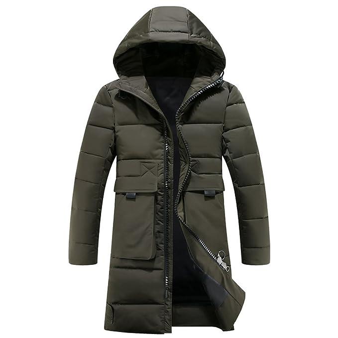 BOZEVON Uomo Invernali Giacca Cappuccio Vento Imbottita Moda Cappotto Warm  Parka Caldo Giubbotto Lunga Cappotti 6a4b834aec4