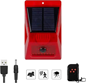 Solar Alarm Light with Motion Sensor, New Chargable Solar Strobe Light with Remote Controller, 129db Loud Siren & IP65 Waterproof for Home, Farm, Villa, Yard, Barn,Outdoor