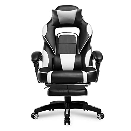 Merax PP033845 High Back Racing Ergonomic Gaming Footrest, PU Leather  Swivel Computer Home Office