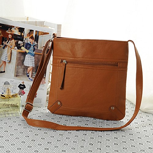 Brown Pu Cross Messenger Tongshi Bag Leather Body Light Shoulder Handbag Satchel 23 25cm Women's qxOwOB1A