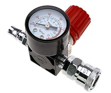 "Micro Trader Compresor de aire 1/4 ""válvula de control de presión Manómetro"
