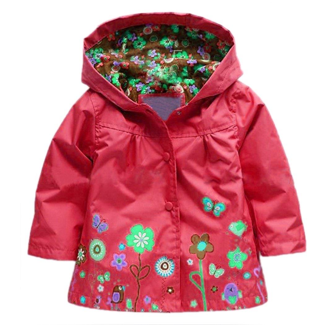 Arshiner Little Girls' Waterproof Hooded Coat Jacket Outwear Raincoat AM001044