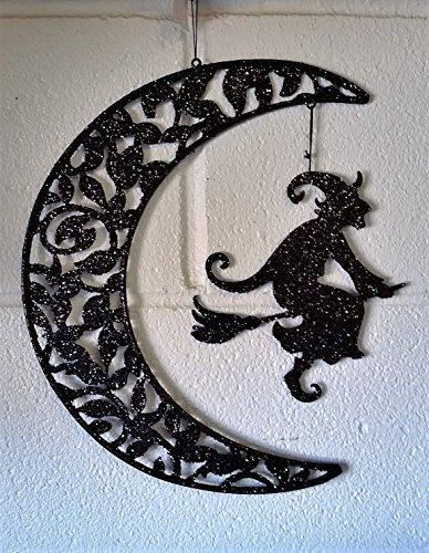 Ganz Halloween Glitter Witch & Haunted House Hanging Decor -