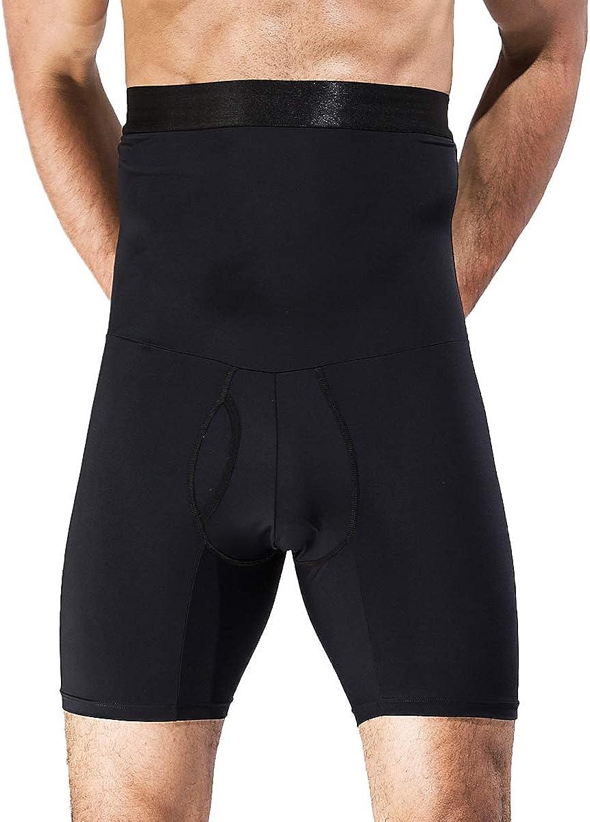 QUAFORT Men Tummy Control Shorts High Waist Slimming Shapewear Body Shaper Leg Underwear Briefs