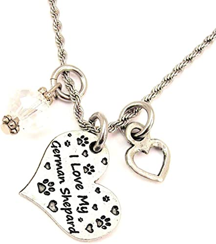 ChubbyChicoCharms Nonna Heart And Crystal 18 Necklace