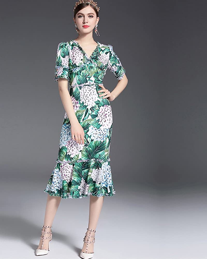 Aofur 2018 Fashion Womens Hawaii Bohemia Chic Style Spring Summer Causal Dress Half-Sleeve Print Beauty Sweet Princess Party Holiday Swing Dress: ...