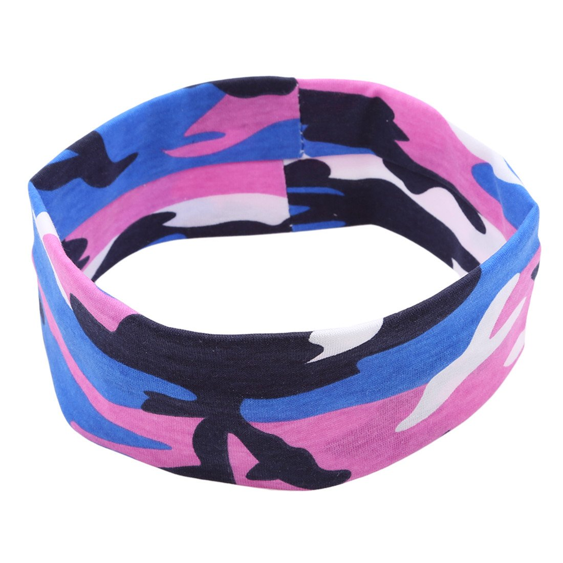 VWH Cotton Elastic Sport Headband Stretch Hairband for Running Workout Yoga Fitness (Rose red)