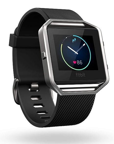 Fitbit Blaze - Reloj inteligente para actividad física, unisex, color negro y plata, talla L