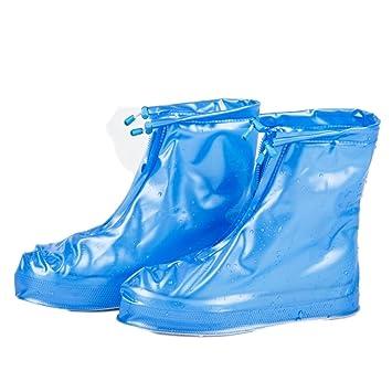 c03c26a418377 HP95 Women Men Slip Resistant Rain Snow Shoes Reusable Waterproof Boots  Covers (US:9-9.5, Blue)
