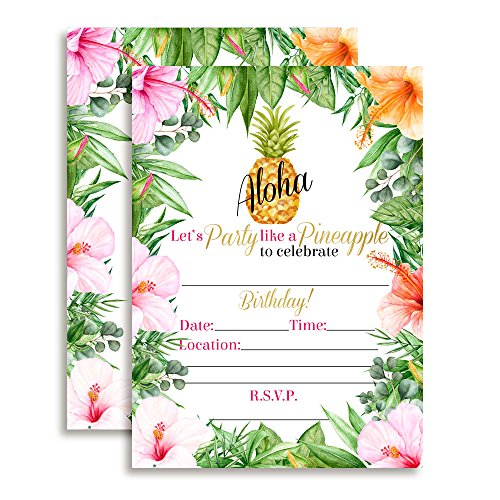 Tropical Flowers Pineapple Aloha Luau Party Invitations, Ten 5