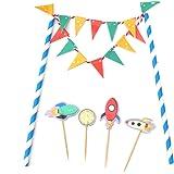 HENGSONG Kreative Motiv Kuchen Dekoration Cake Topper Papier Cupcake Torten Kuchen Topper für Geburtstag Party Weihnachten Deko Set (Raumfahrzeug)