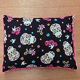 Travel Memory Foam Pillow- Flokoric Skulls/Fuschia Plush