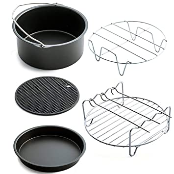 5pcs / Set Aire freidora Accesorios para hornear pizza cesta Placa Grill Pan Pot Mat