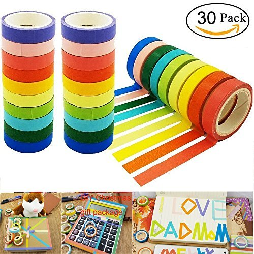 DIY 30 Rolls Washi Tape,Sackorange Rainbow Candy Colorful Tape Decorative DIY for DIY Crafts, Festival Gift Wrapping,Office Party Supplies, Christmas, Lamp, Cards, Scrapbook