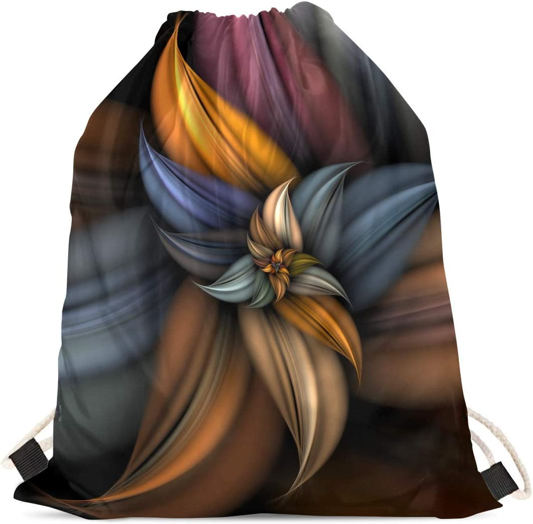 INSTANTARTS Abstract Florals Design Kids Comfort Athletic Shoulder Drawstring Backpacks