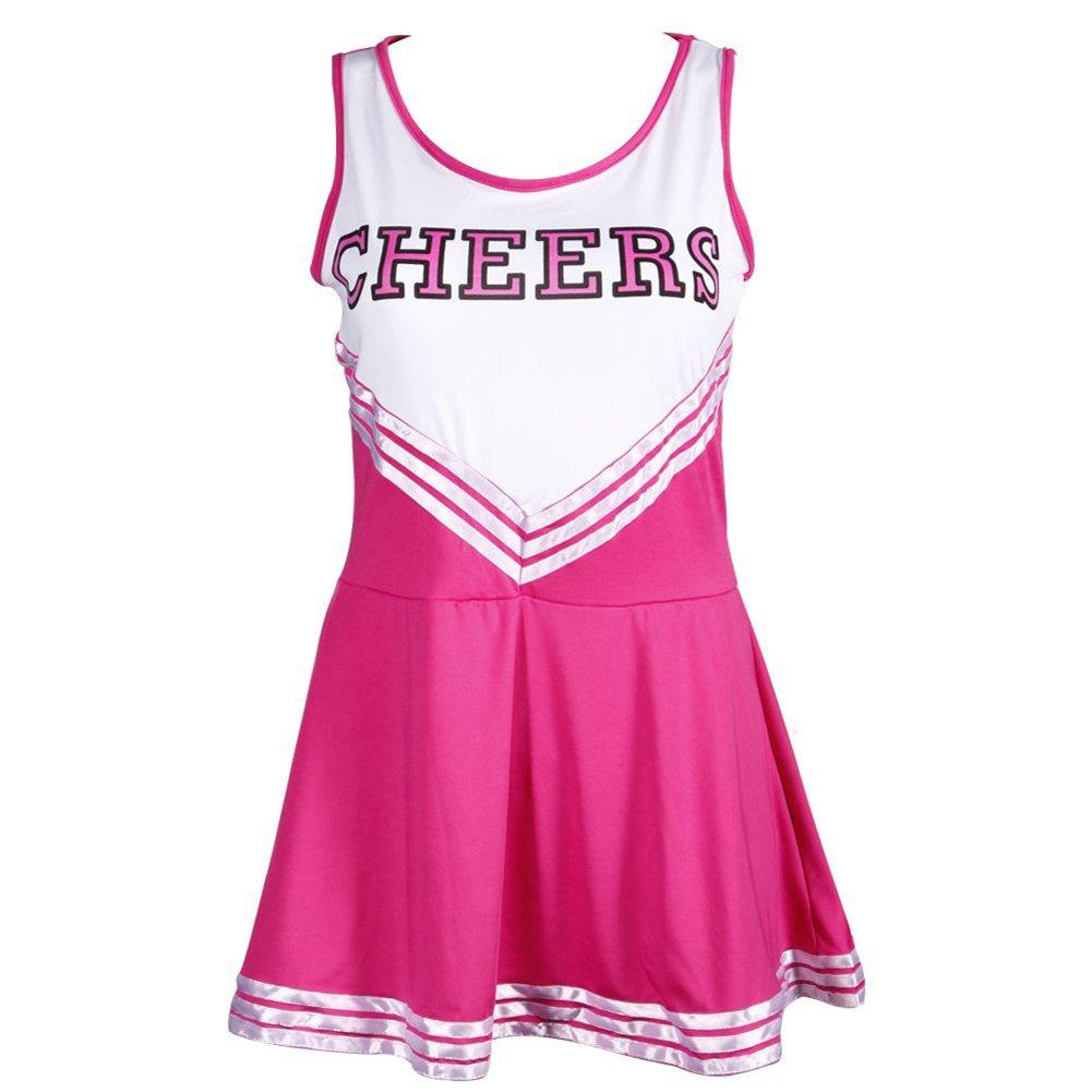 TOOGOO(R) Pom-Pom Maedchen Traegerhemd Kleid Cheer Leader Rose rot Anzug Kostuem M (34-36) Sport 038440