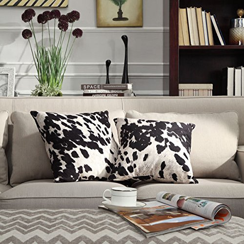 Playful Western Touch, INSPIRE Q Black & White Faux Cow Hide Print Decorative Pillows (Set of 2)