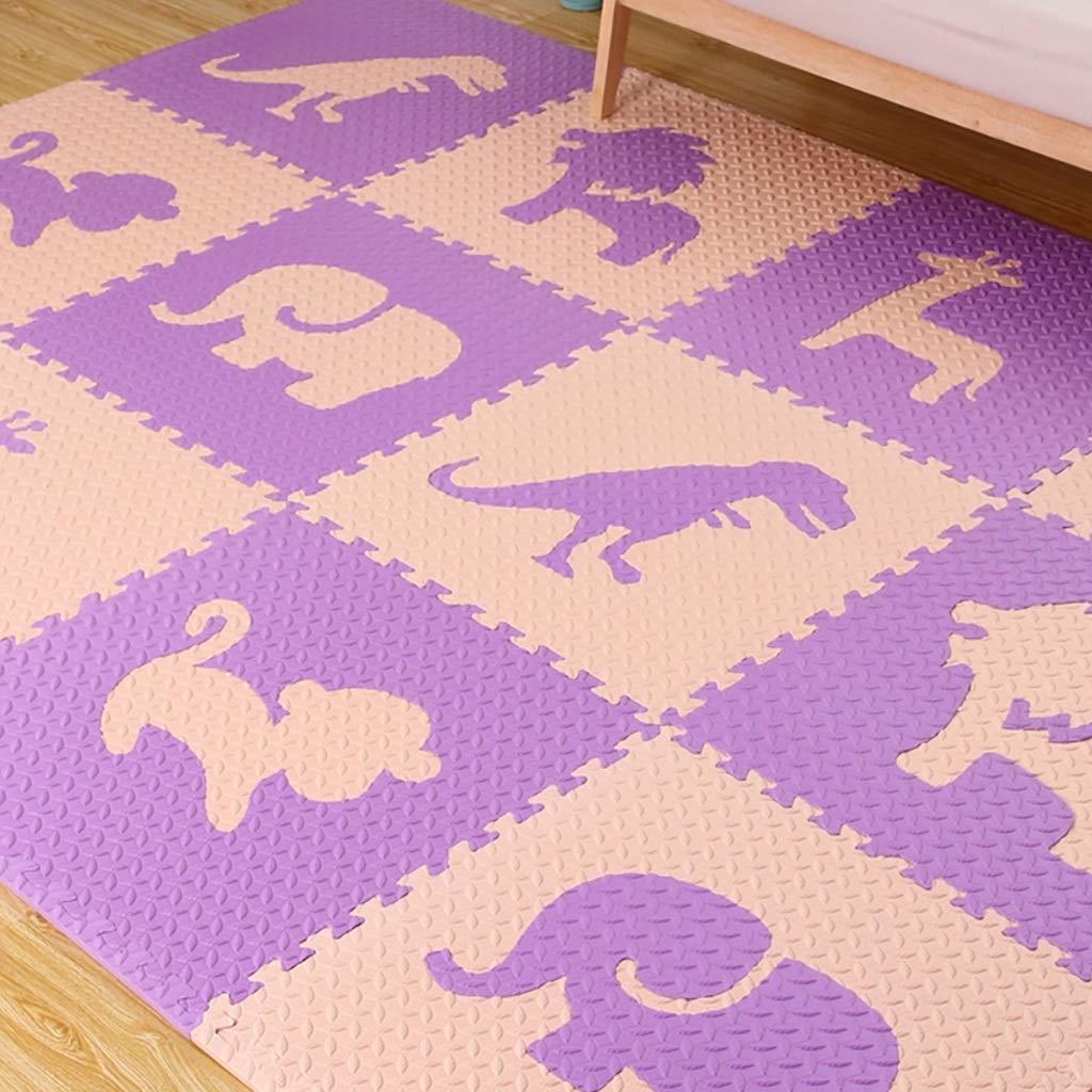 LFY Große Puzzle Schaumstoffmatte, Baby Schlafzimmer Mosaik Teppich (Farbe   Blau, größe   20 Piece) Lila 10 piece