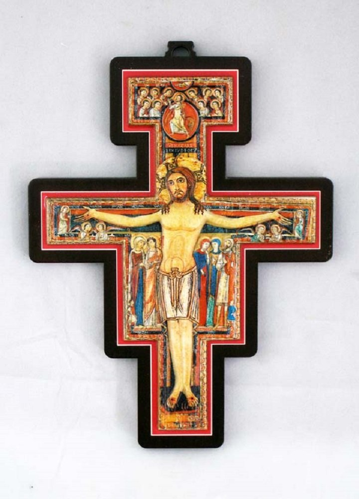 San Damian Cross, metal plaque in relief on wood cross, 6.75 inches. Made in Italy.