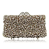 Milisente Women Evening Bag Prom Crystal Clutch Purse Bag (Gold)