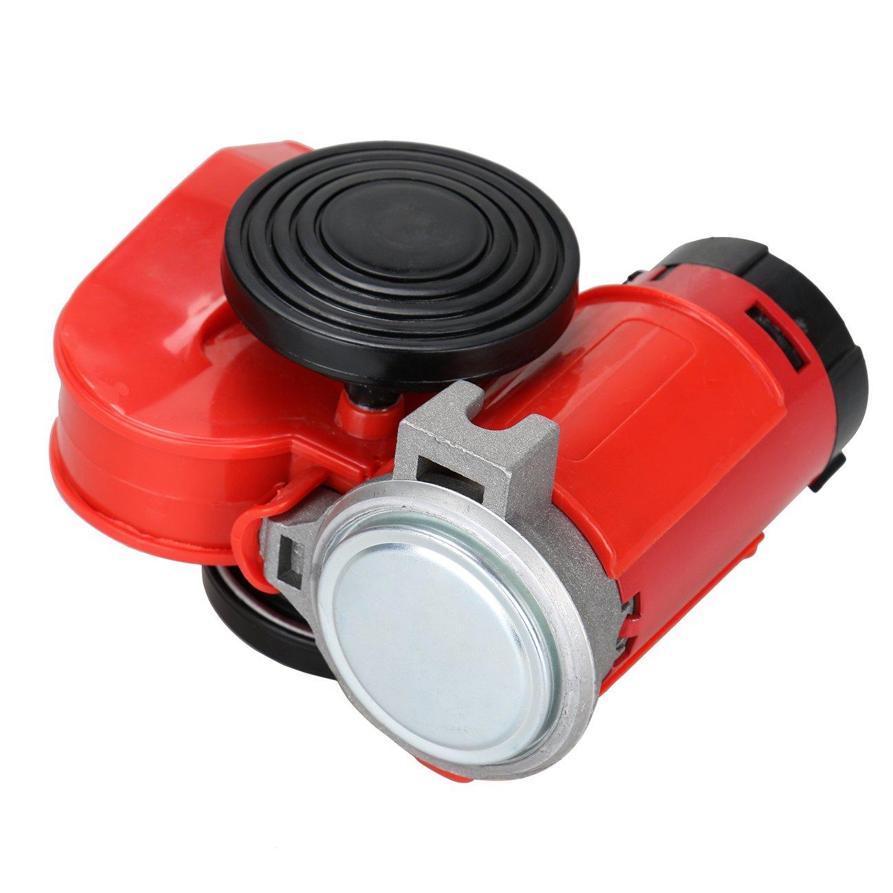 MountainNet 12 V escargot air cornes compact air pompe électrique double tonalité rouge puissant pour voiture de moto Ambienceo
