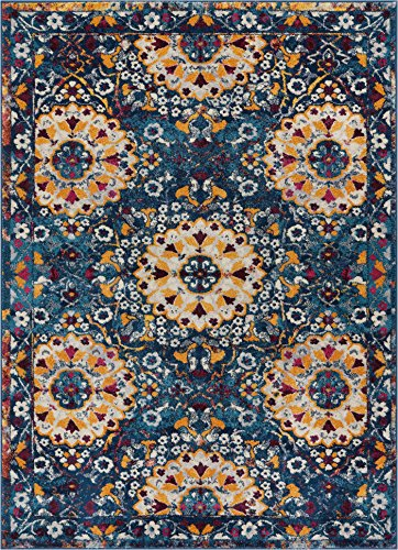 - Well Woven Suzani Boho 4x6 (3'11'' x 5'3'') Area Rug Garden Blue & Yellow Distressed Traditional Vintage Floral Oriental