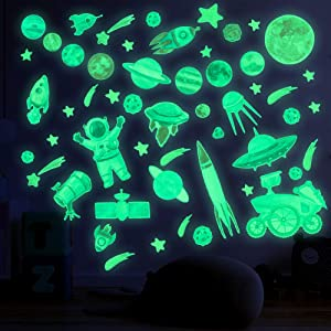 HONGTEYA Glow in The Dark Stars for Ceiling Bright Wall Decals Solar System Planet Glow Stars Wall Stickers for Kids Galaxy Room Decor for Boys and Girls Space Astronaut Rocket Meteor Decorations