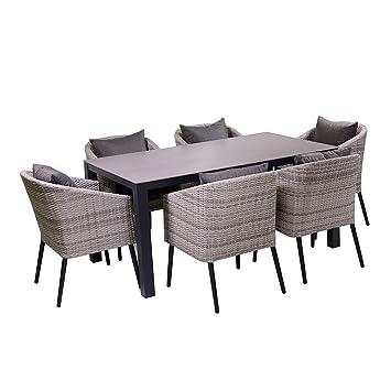 Amazon De Adami Gartenmobel Set Tisch Und 6 Stuhle Rattan Salem