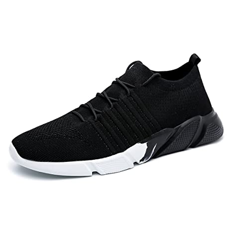 Men's Running Shoes Fashion Breathable Sneakers Mesh Soft Sole Casual  Athletic Lightweight Walking Shoes Black White