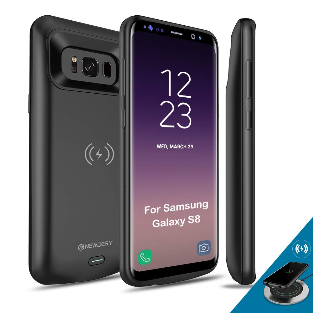 NEWDERY Upgraded Samsung Galaxy S8 Battery Case Qi Wireless Charging Compatible, 5000mAh Slim Rechargeable Extended Charger Case Compatible Samsung Galaxy S8 (2017)-(5.8 Inches Black) by NEWDERY