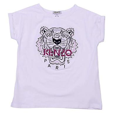 b26737875 Kenzo Girl White Cotton Jersey T-Shirt Mod. KL1006801: Amazon.co.uk:  Clothing