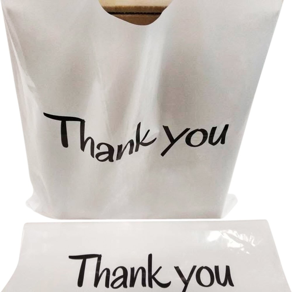 100 Thank You Merchandise Bags 12x15 White, Die Cut Handles, Glossy, 2.36 Mil Extra Thick LDPE | Strong, Durable, and Tear Resistant Bags | Recyclable, Water-Proof Poly Bag