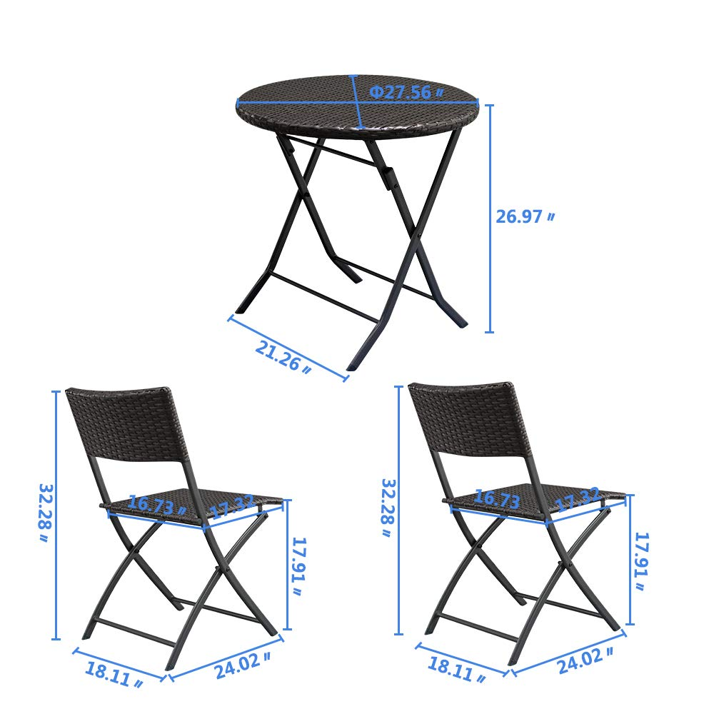MAOVII 2pcs Arm Chairs 1pc Round Coffee Table Rattan Chair Set Brown Gradient by MAOVII (Image #7)