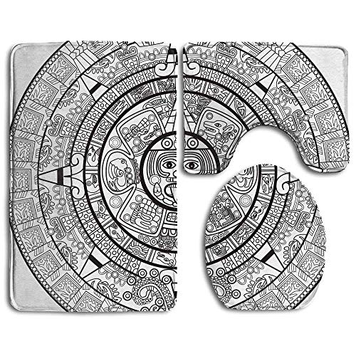 NEWcoco Illustration Accurate Antiquities Astrological Aztec Geometric Indigenous Bathroom Rug 3 Piece Bath Mat Set Contour Rug and Lid -