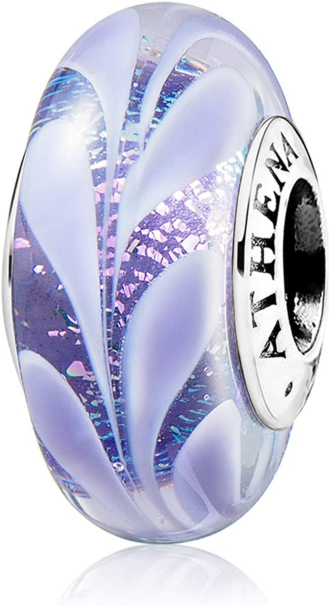 ATHENAIE Murano Glass 925 Sterling Silver Hawaiian Charms Leaf Bead for Bracelet Purple