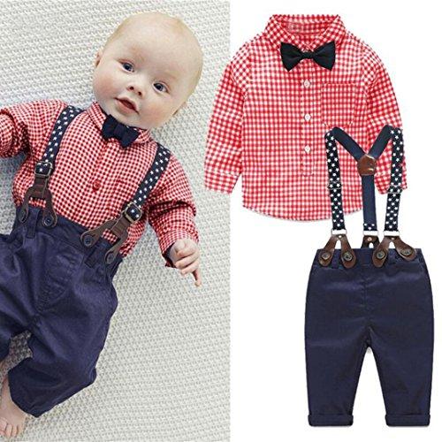 Baby Boy Dress Up Clothes (Staron 2pcs Kids Baby Boy Plaid Shirt Outfits Set Infant Grid Tops+Suspender Pants (0-6 Months, Red))