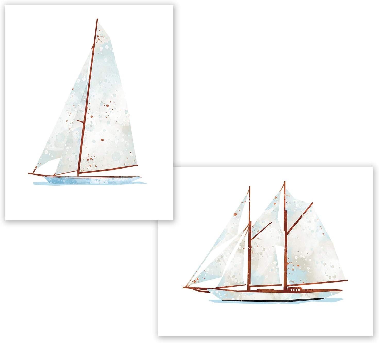 Nautical Wall Decor - Set of 2 Posters // Cute Sailing Yacht // Bathroom Decor // Marine Kids Wall Art // Nautical Party Decoration // Boys Toddlers Room Decor // Office / Birthday (8x10, Set 2 Yacht)