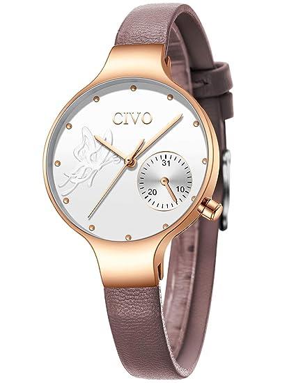CIVO Relojes Mujeres Señoras Reloj de Pulsera Moda Diseñador Impermeable Minimalista Azul Relojes para Mujeres y Niñas Cuarzo Analógico Vestido ...