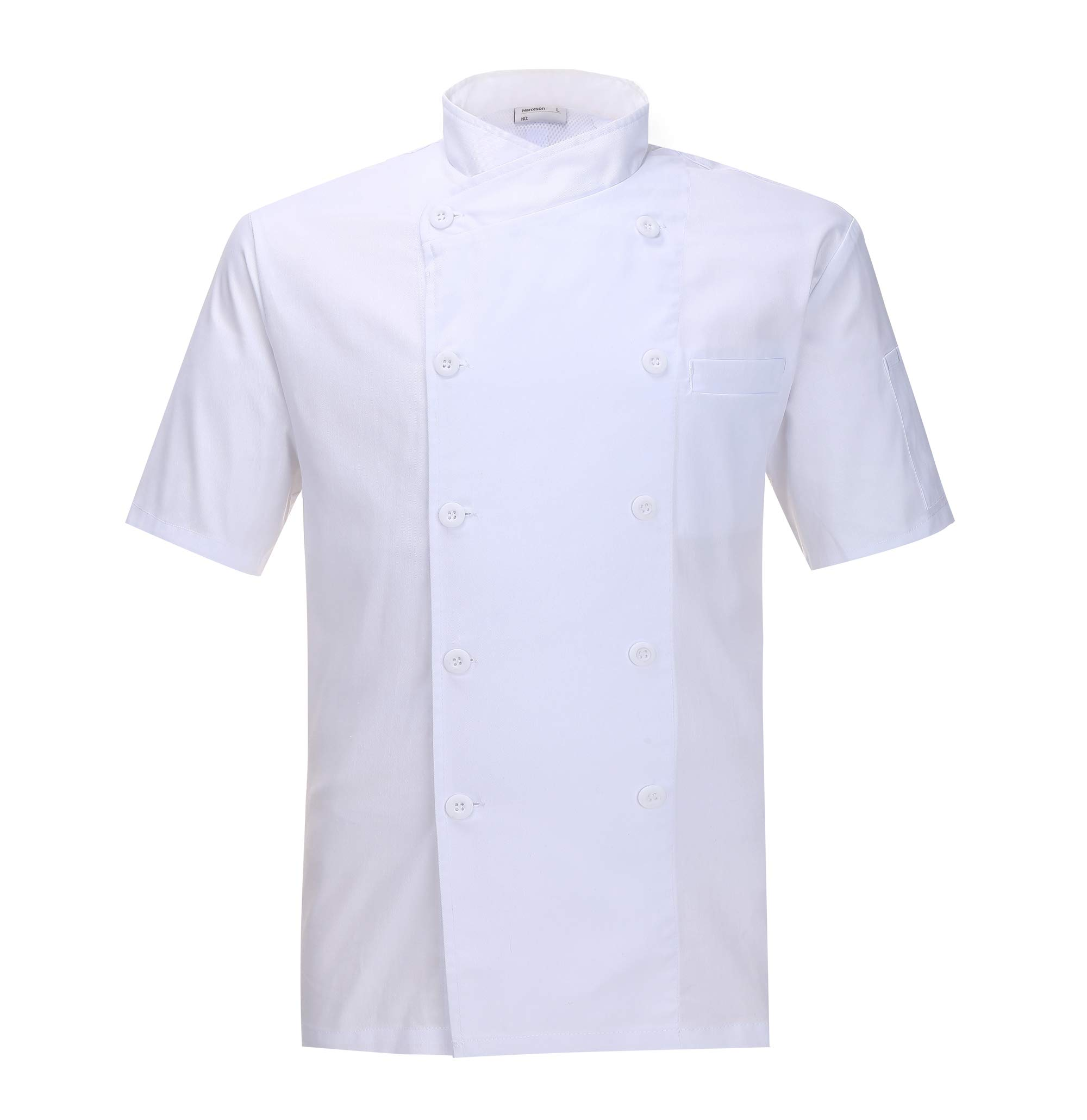 Nanxson(TM Kitchen Cotton Uniform Chef Working Coat with Air Mesh CFM0029 (White Short Sleeves, XXL)