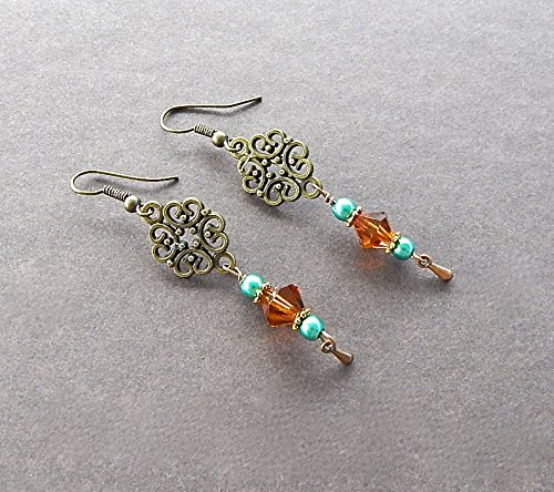 (Bronze Victorian Tea Time Earrings Four Hearts Design Swarovski Brand Crystal Accents In Amber Color)