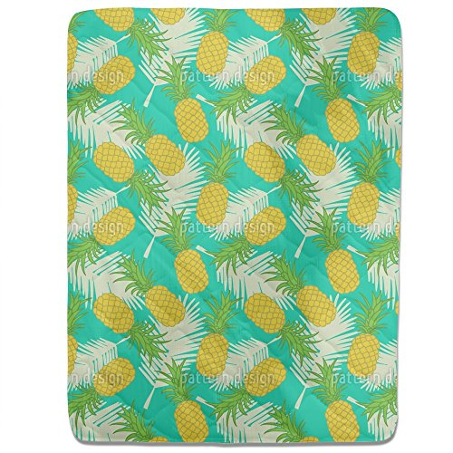 Pineapple Tropicana Fitted Sheet: King Luxury Microfiber, Soft, Breathable by uneekee