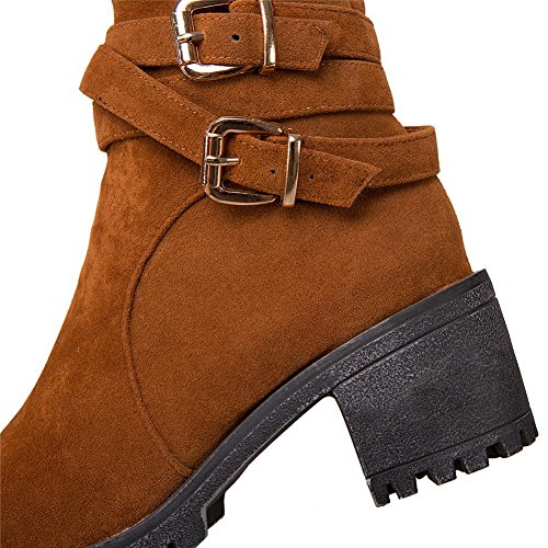 Brown High BalaMasa ABL10611 Multilayer Womens Ankle Boots Strap Metal Urethane xwvg1qz