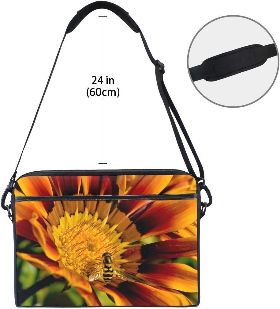 Flower Bee Petals Striped Pollination Laptop Shoulder Messenger Bag Case Sleeve for 14 Inch to 15.6 Inch with Adjustable Notebook Shoulder Strap